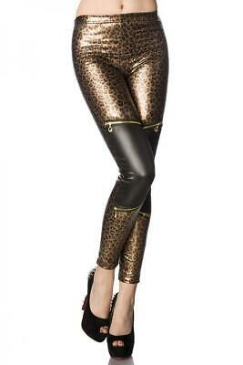 VARIOUS Wetlook-Leggings mit Leo Print