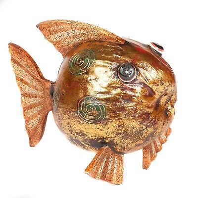 Hand Made Fair Trade Painted Coconut Fish - Gold - FIS-003-GOLD