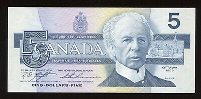 1986 Bank of Canada $5 Banknote - Radar - BC-56d S/N: ANJ2871782