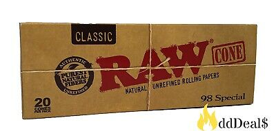 RAW Organic Pre-Rolled Cone 1 1/4 Size with 20 cones 100% AUTHENTIC