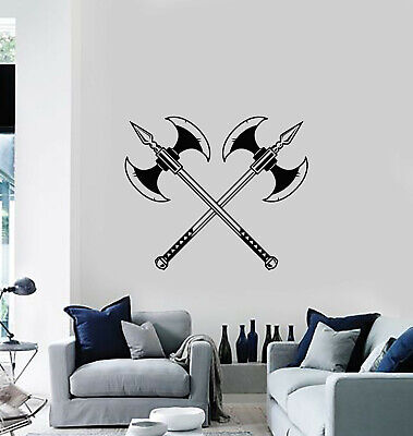 Vinyl Wall Decal Axes Weapons Warriors Poleaxe Man Cave Decor Stickers (g479)