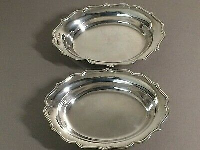 Pair Of Vintage 925,Solid Sterling Silver Scallop Edge Dishes, 137.20,Grams,