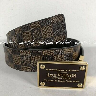01efb7055b66 Auth Louis Vuitton Reversible Inventeur Damier Ebene Brown Taiga Leather  Belt