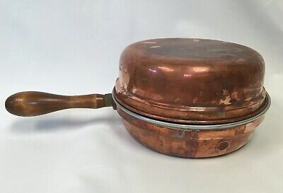 "Mid Century Vintage Look 9"" Copper Pot Frying Pan Skillet Wood Handle With Lid"