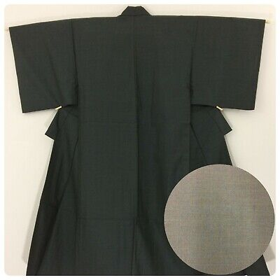 Japanese men's kimono, grey wool, medium, Japan import (AC2590)