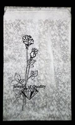 100 PAPER GIFT BAGS 6 x 9 SILVER, BLACK & WHITE
