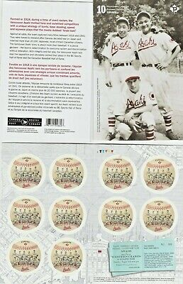 "Vancouver Asahi Baseball: booklet of 10 ""P"" stamps,mint.Canada."