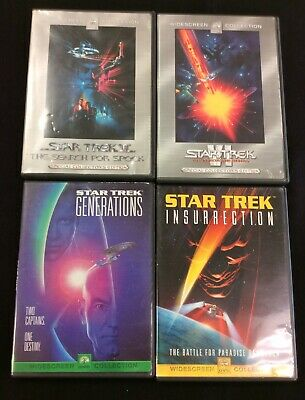 Star Trek DVD Lot Of 4 Insurrection Generations Search For Spock Undiscovered