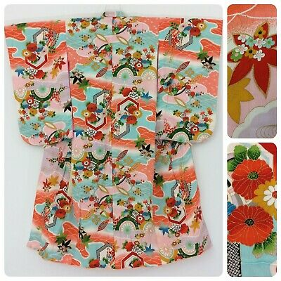 Japanese girls' kimono, silk, flowers, length 123cm, Japan import (P2592)