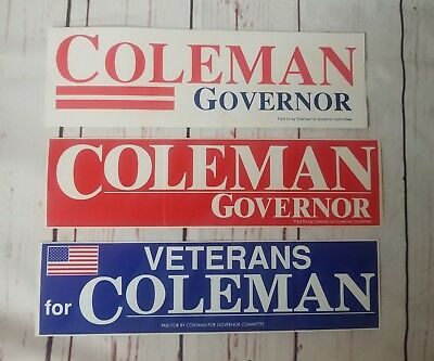 Marshall Coleman Virginia Governor 1985  political campaign 3 Bumper Stickers