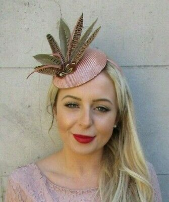 Rose Gold Dusky Nude Pink Brown Pheasant Feather Hat Hair Fascinator Races 7215