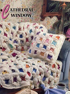 CATHEDRAL WINDOW Afghan ~ Pillow Annie's Attic Crochet