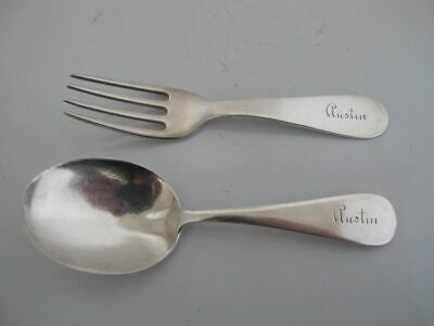 STERLING Silver 2pc BABY Fork & Spoon Set AUSTIN Monogram