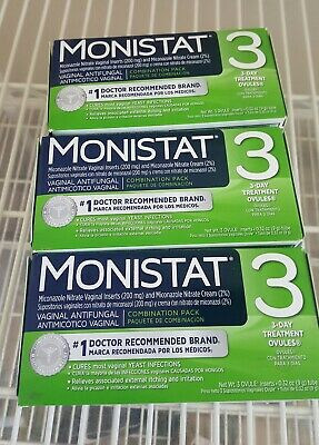Monistat 3 Day Complete Therapy Vaginal Antifungal Treat Yeast Infections 3-Pack
