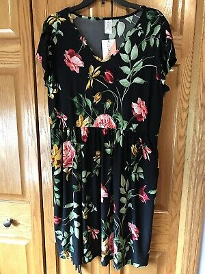 Honey /& Lace piphany Los Osos Black Navy Floral Dress L NWT POCKETS