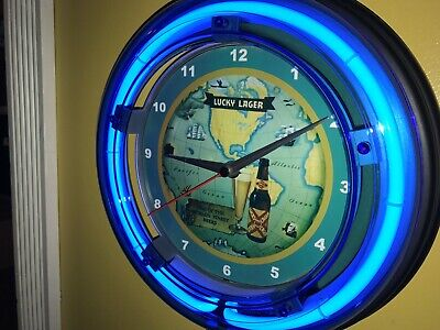 Lucky Lager Map Beer Bar Man Cave Advertising Blue Neon Wall Clock Sign