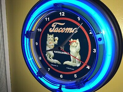Tacoma Hangover Cats Beer Bar Man Cave Blue Neon Advertising Wall Clock Sign