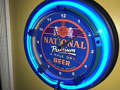 National Premium Beer Bar Man Cave Blue Neon Advertising Wall Clock Sign