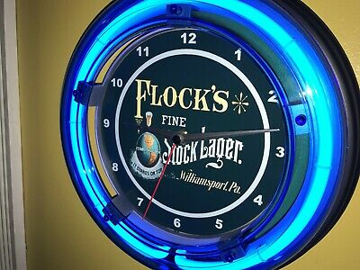 Flock's Pennsylvania Beer Bar Man Cave Blue Neon Advertising Wall Clock Sign