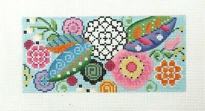 Kelly Clark LEE Rectangle Floral Insert Handpainted Needlepoint Canvas
