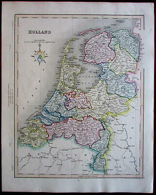 Holland Netherlands Nederland c.1945-55 Archer decorative old map