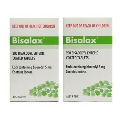 2 x Bisalax 5mg 200 Tablets Bisacodyl Enteric Coated Constipation Relief