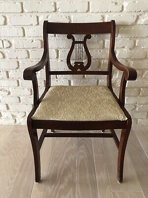 Antique Harp Lyre Back Dining Chair Vintage Upholstered Wood Armchair