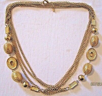 "VTG Exotic Filigree Ornate Gold-Tone Extra Long Luxurious Estate Necklace 38""in"