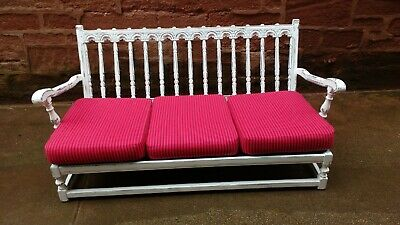 vintage cool sofa reupholstered, refinished in shabby chick, hand carved frame!