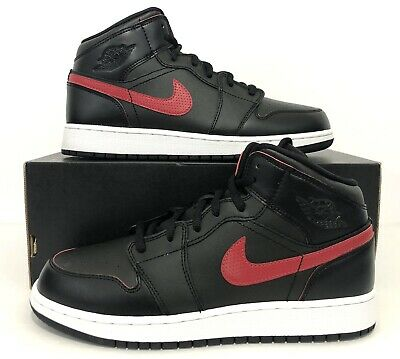 low cost 353d0 43d5c Nike Air Jordan 1 Mid BG Black Gym Red 554725-009 Youth Size 6.5Y