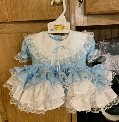 e81f2133e0368 Lid'l Dolly Southern Belle Dress Girls baby blue Ruffle Lace Pageant size  ...