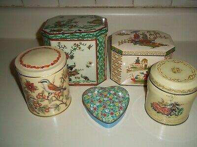 5 Vintage Daher England Tin Litho Boxes  Asian, Floral, Birds Hinged & Cannister