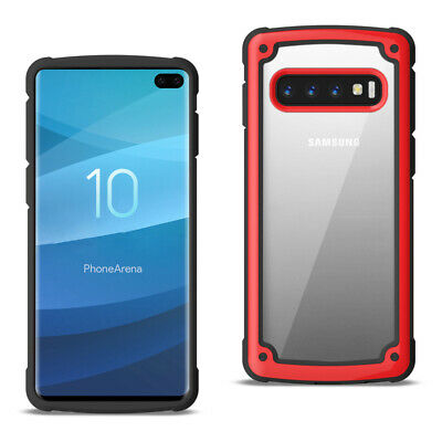 SAMSUNG GALAXY S10 Plus Heavy Duty Rugged Shockproof Full Body Case In Red/Clear