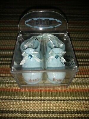 Russ Baby Porcelain Shoes With The Name Brian High Quality And Inexpensive Keepsakes & Baby Announcements