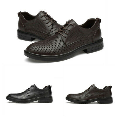 Mens Leather Hollow Out Solid Round Toe Leisure Flat Breathable Business Shoes