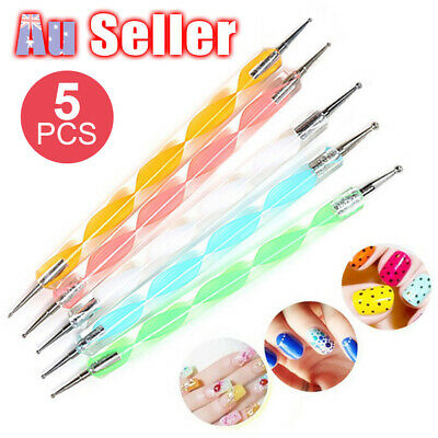 5pcs 2 Way Design Marbleizing Paint Tools 1 Set Nail Art Tool UO Dotting Pen Dot