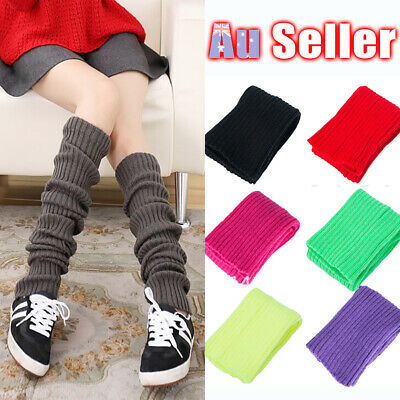 Womens Leg Warmers Knit Dance Party Legging Costume Disco Socks Crochet Winter
