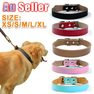 Genuine Leather Cowhide available Puppy Dog Collar Real Cow Pet Leads M L
