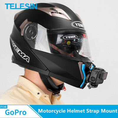 TELESIN Motorcycle Helmet Strap Mount Front Chin + J-Hook for GoPro Hero 7/6/5