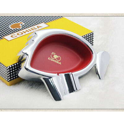 COHIBA Red Classic Cigar Cigarette Ashtray Metal 50th Anniversary Edition