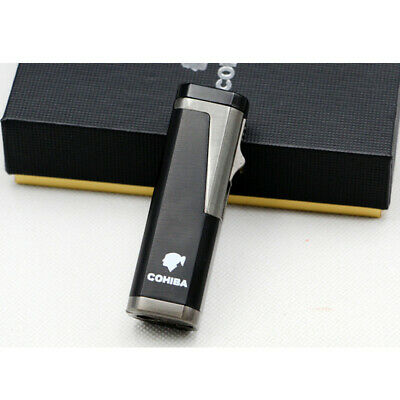Cohiba Gray Cigar Cigarette Metal Lighter Triple Torch Jet Flame With Punch
