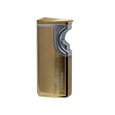 COHIBA Gold Finish Touch Induction Cigar Lighter 3 Torch Jet Flame With Punch