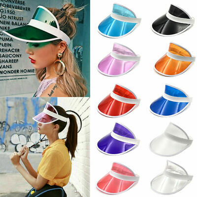 New Summer Hat Sun Visor Party Casual Hat PVC Clear Plastic Adult Sunscreen Cap