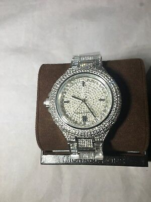 8d4f0b7169f1 New Michael Kors Camille Silver Pave Dial Crystal Encrusted MK5869 Women's  Watch