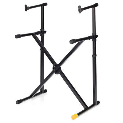 Hercules Double Tier X Braced Stand/Holder w/ Vertical Support f/ Keyboard Black