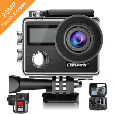Campark 4K Action Cam Touchscreen Sport Kamera WiFi HD 20MP Dual LCD Wasserdicht