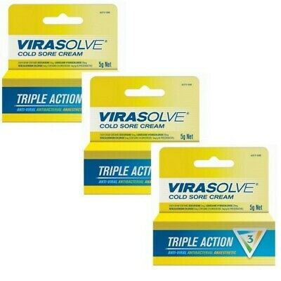 3 x Virasolve Cold Sore Cream 5g Triple Action Anti Viral Actibacterial