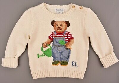 RALPH LAUREN Boys' Kids' Bear Jumper, 100% Cotton, Cream, size 9 months