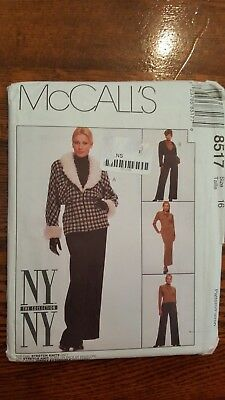 UNCIRCULATED NY//NY McCALL/'S #8517 LADIES FUR JACKET-TOP-BOTTOMS PATTTERN 10 FF