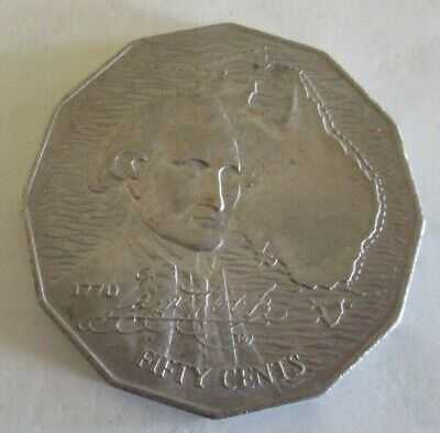 1970 - Captain Cook Bicentenary - Australian Fifty / 50 Cent Coin - Circulated
